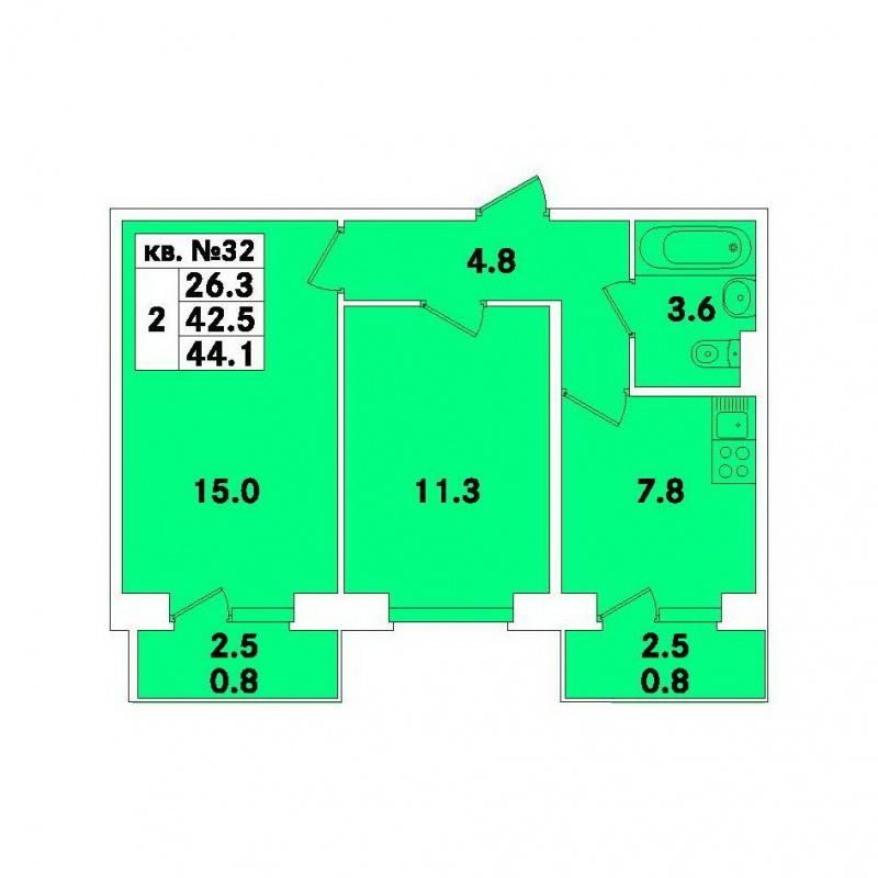 Планировка Двухкомнатная квартира площадью 44.1 кв.м в ЖК «ЭкспоГрад»