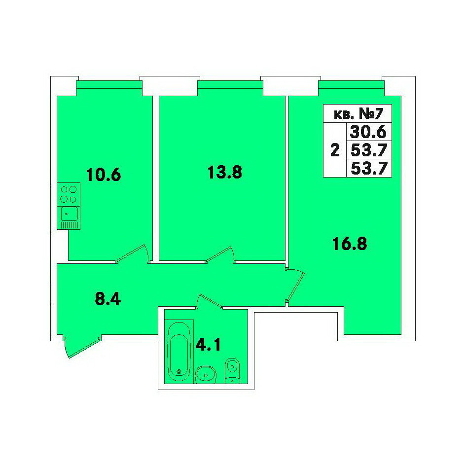 Планировка Двухкомнатная квартира площадью 53.7 кв.м в ЖК «ЭкспоГрад»