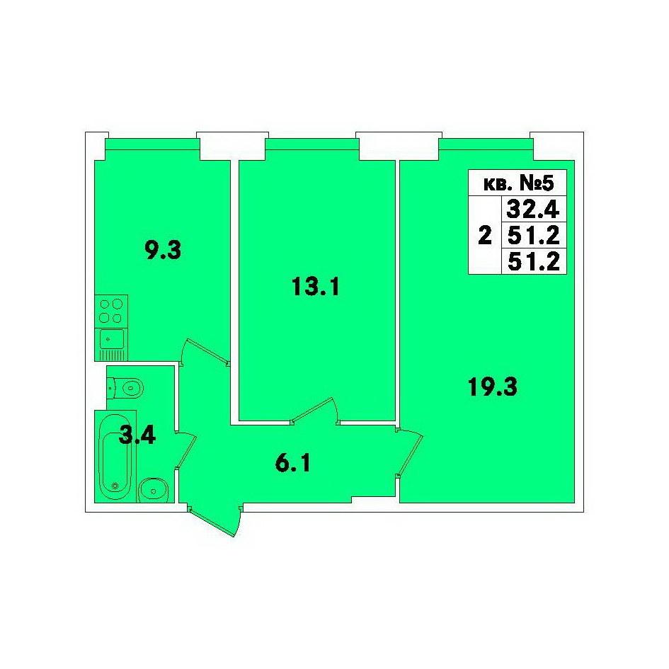 Планировка Двухкомнатная квартира площадью 51.2 кв.м в ЖК «ЭкспоГрад»