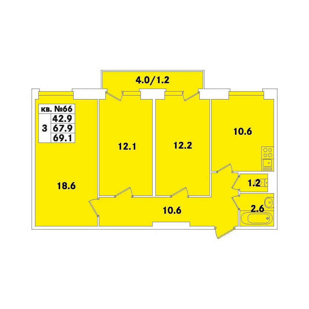 Планировка Трёхкомнатная квартира площадью 69.1 кв.м в ЖК «ЭкспоГрад»