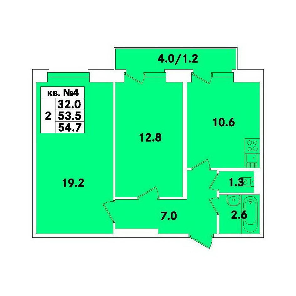 Планировка Двухкомнатная квартира площадью 54.7 кв.м в ЖК «ЭкспоГрад»