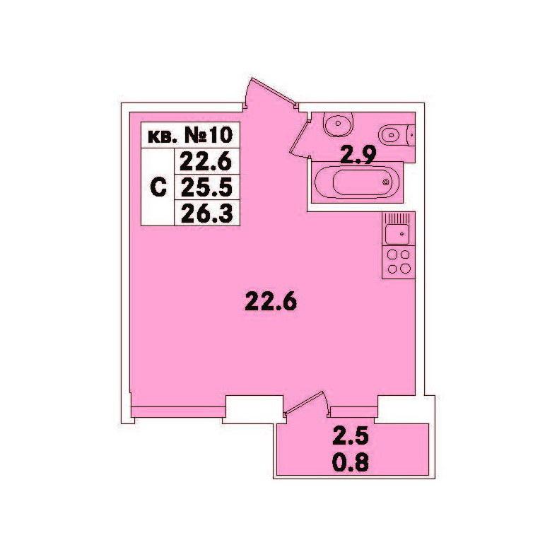 Планировка Студия площадью 26.3 кв.м в ЖК «ЭкспоГрад»