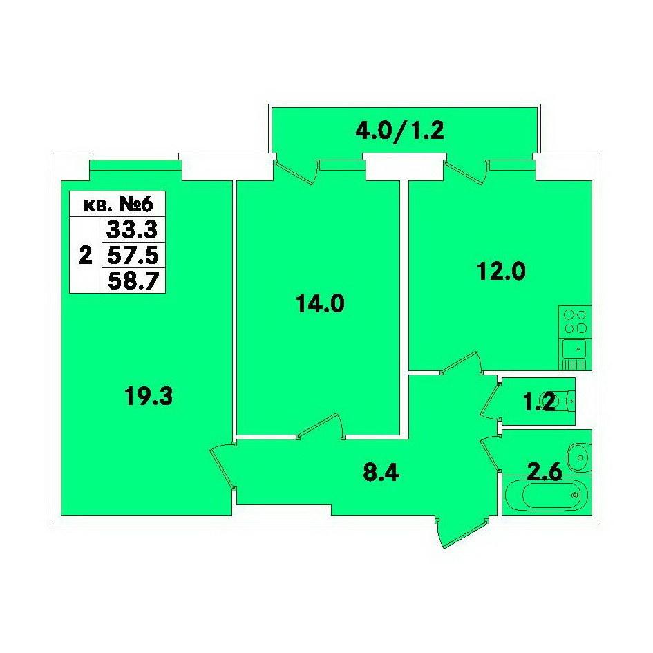 Планировка Двухкомнатная квартира площадью 58.7 кв.м в ЖК «ЭкспоГрад»