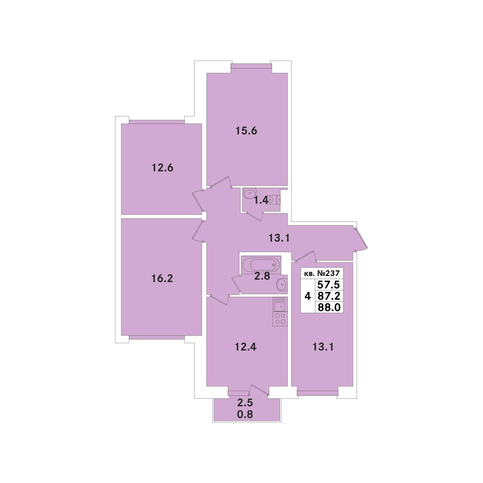 Планировка Четырёхкомнатная квартира площадью 88 кв.м в ЖК «ЭкспоГрад»
